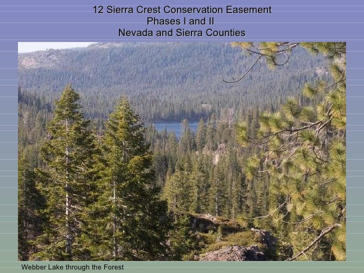 12 Sierra Crest Conservation Easement Phases I and II  Nevada and Sierra Counties Webber Lake through the Forest