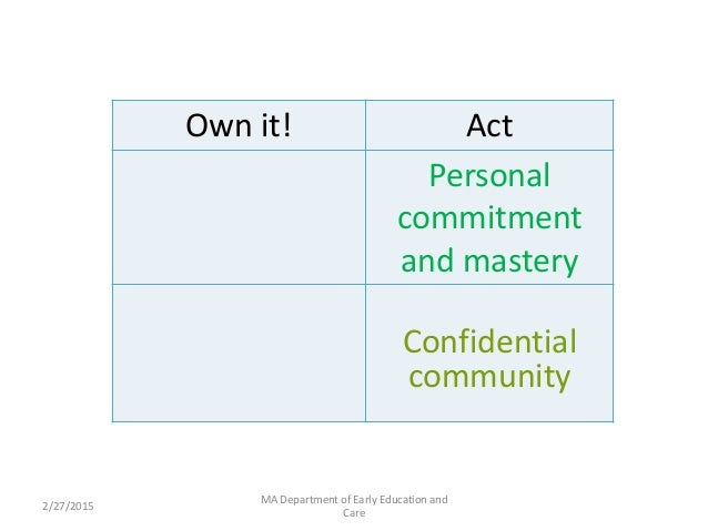 Career . 2/27/2015 MA Department of Early Education and Care Own it! Act Personal commitment and mastery Confidential comm...