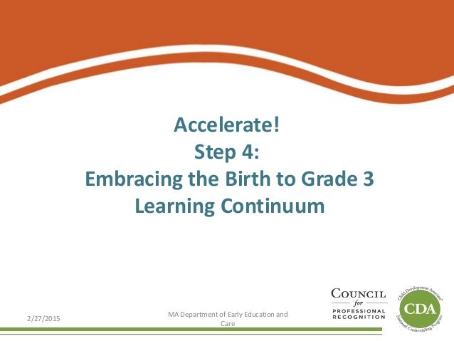 Accelerate! Step 4: Embracing the Birth to Grade 3 Learning Continuum 2/27/2015 MA Department of Early Education and Care