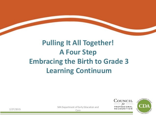 Pulling It All Together! A Four Step Embracing the Birth to Grade 3 Learning Continuum 2/27/2015 MA Department of Early Ed...