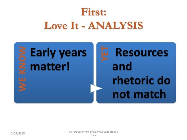 First: Love It - ANALYSIS 2/27/2015 MA Department of Early Education and Care WEKNOW Early years matter! YET Resources and...