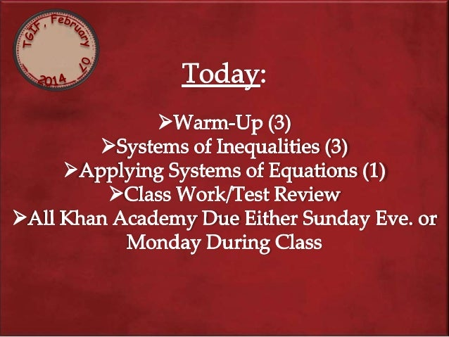 Warm Up: (3)  2. What is the solution to the following system of equations: 2(m + n) + m = 9 3m - 3n = 24
