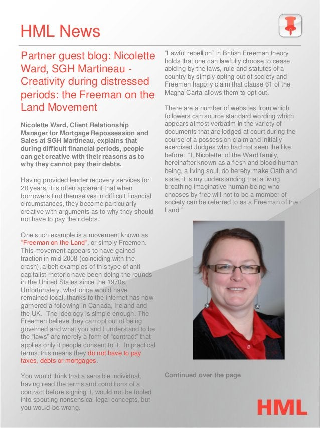 HML News Partner guest blog: Nicolette Ward, SGH Martineau - Creativity during distressed periods: the Freeman on the Land...