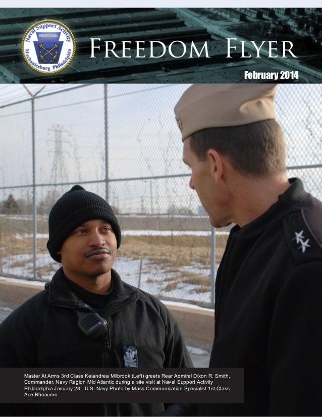 February 2014  Master At Arms 3rd Class Keiandrea Milbrook (Left) greets Rear Admiral Dixon R. Smith, Commander, Navy Regi...