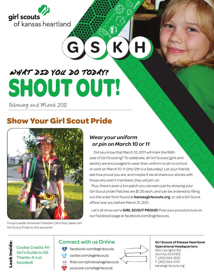 February and March 2011Show Your Girl Scout Pride                                                   Wear your uniform     ...