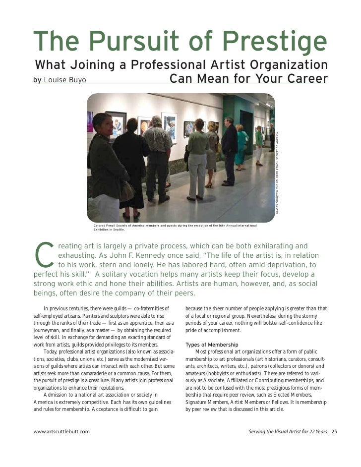 The Pursuit of Prestige What Joining a Professional Artist Organization by Louise Buyo       Can Mean for Your Career     ...