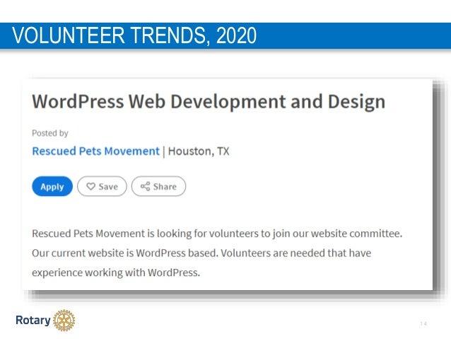 1 4 VOLUNTEER TRENDS, 2020 1. Donating a specific skill set 2. Virtual volunteering 3. Generational service 4. Volunteer t...