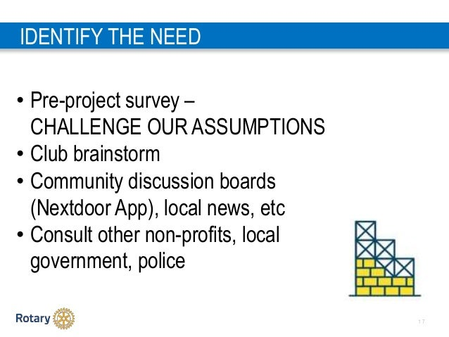 1 7 IDENTIFY THE NEED • Pre-project survey – CHALLENGE OUR ASSUMPTIONS • Club brainstorm • Community discussion boards (Ne...