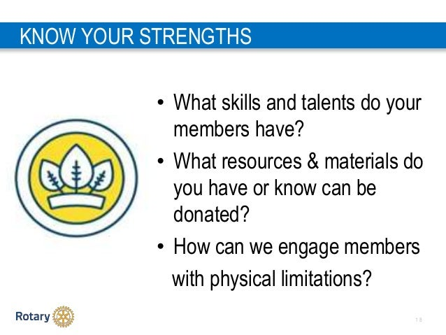 1 8 KNOW YOUR STRENGTHS • What skills and talents do your members have? • What resources & materials do you have or know c...