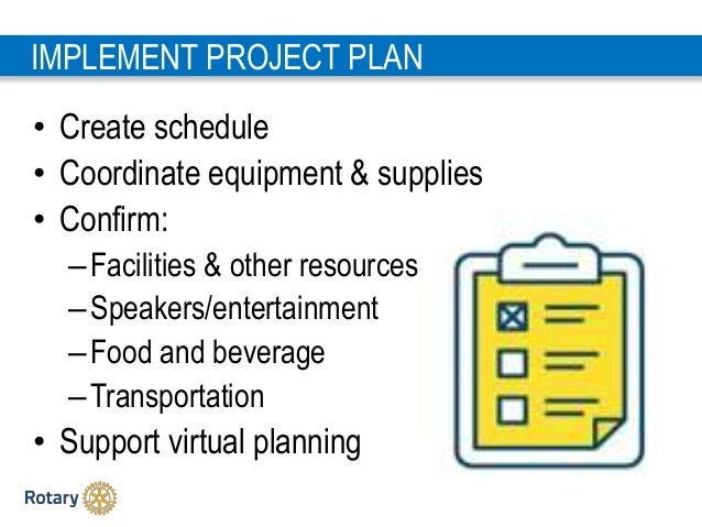 2 2 IMPLEMENT PROJECT PLAN • Create schedule • Coordinate equipment & supplies • Confirm: –Facilities & other resources –S...