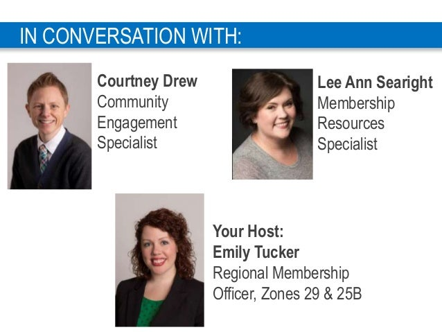 4 Your Host: Emily Tucker Regional Membership Officer, Zones 29 & 25B IN CONVERSATION WITH: Lee Ann Searight Membership Re...