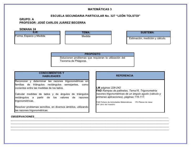 """MATEMÁTICAS 3                               ESCUELA SECUNDARIA PARTICULAR No. 327 """"LEÓN TOLSTOI""""     GRUPO: A     PROFESOR..."""