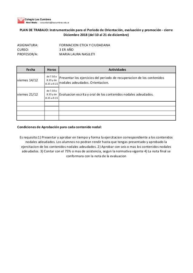 Colegio Las Cumbres Nivel Medio - secundaria@lascumbres.edu.ar ASIGNATURA: FORMACION ETICA Y CIUDADANA CURSO: 3 ER A�O PRO...