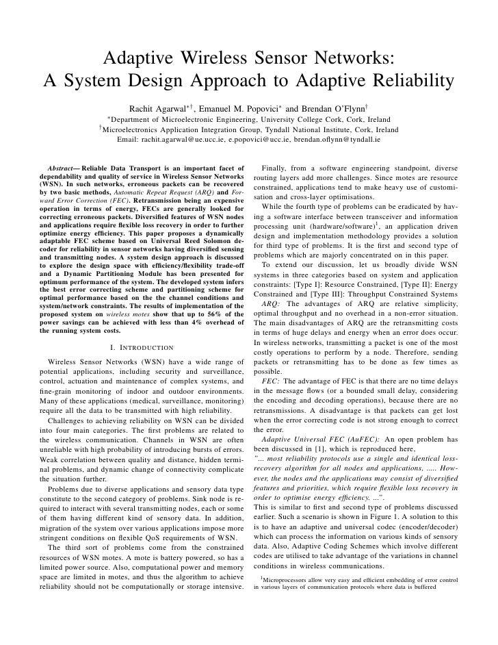 Adaptive Wireless Sensor Networks: A System Design Approach to Adaptive Reliability                            Rachit Agar...