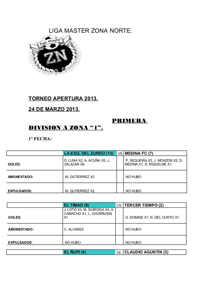 LIGA MASTER ZONA NORTE.         TORNEO APERTURA 2013.         24 DE MARZO 2013.                                           ...