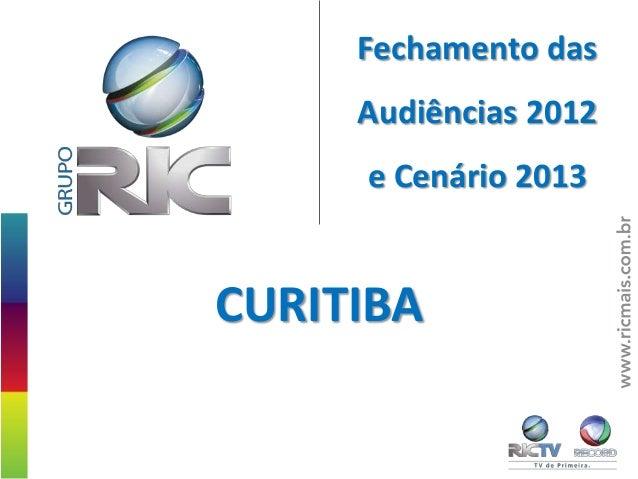Fechamento das     Audiências 2012     e Cenário 2013CURITIBA