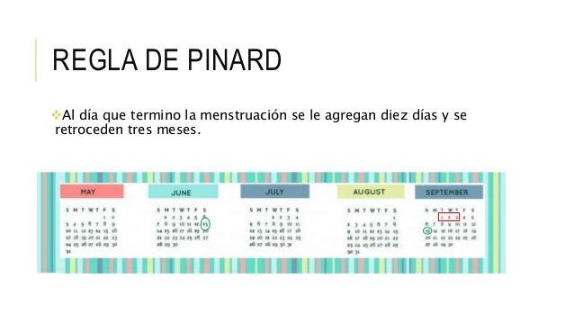 REGLA DE PINARD Al día que termino la menstruación se le agregan diez días y se retroceden tres meses.