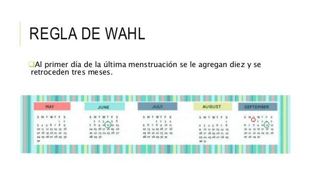 REGLA DE WAHL Al primer día de la última menstruación se le agregan diez y se retroceden tres meses.