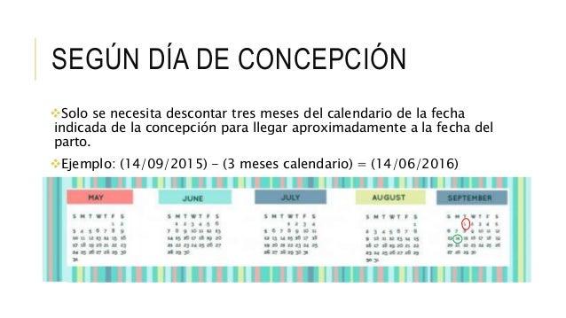 SEGÚN DÍA DE CONCEPCIÓN Solo se necesita descontar tres meses del calendario de la fecha indicada de la concepción para l...