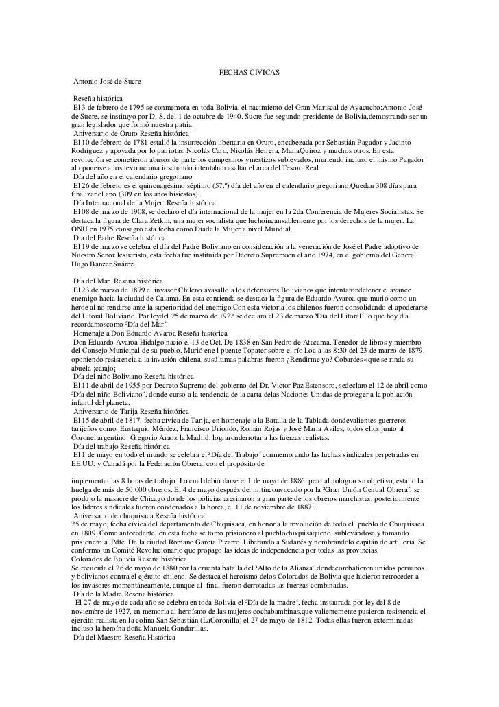 FECHAS CIVICASAntonio José de Sucre Reseña histórica El 3 de febrero de 1795 se conmemora en toda Bolivia, el nacimiento d...