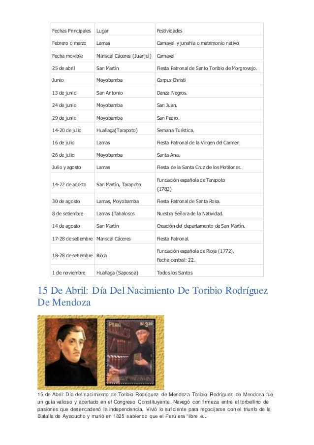 Fechas principales del calendario civico