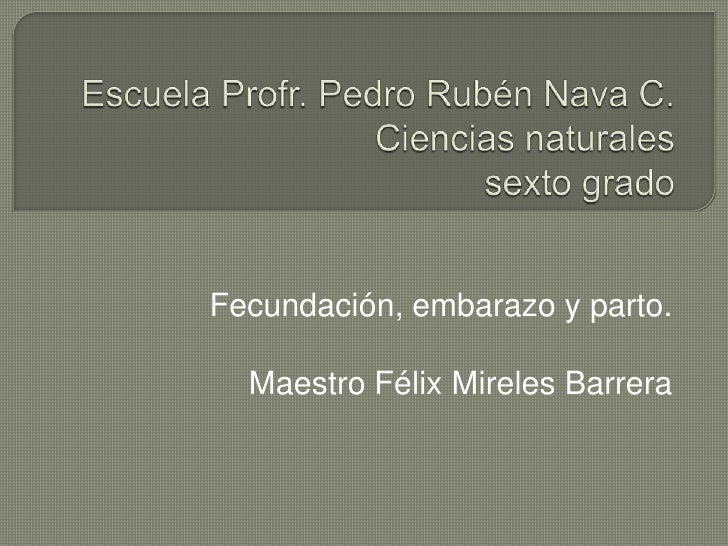 Escuela Profr. Pedro Rubén Nava C.Ciencias naturalessexto grado<br />Fecundación, embarazo y parto.<br />Maestro Félix Mir...