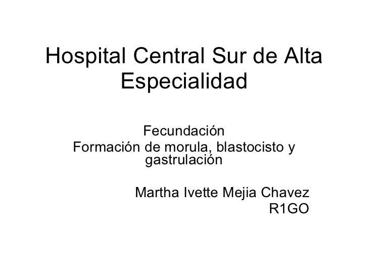 Hospital Central Sur de Alta Especialidad Fecundación Formación de morula, blastocisto y gastrulación Martha Ivette Mejia ...