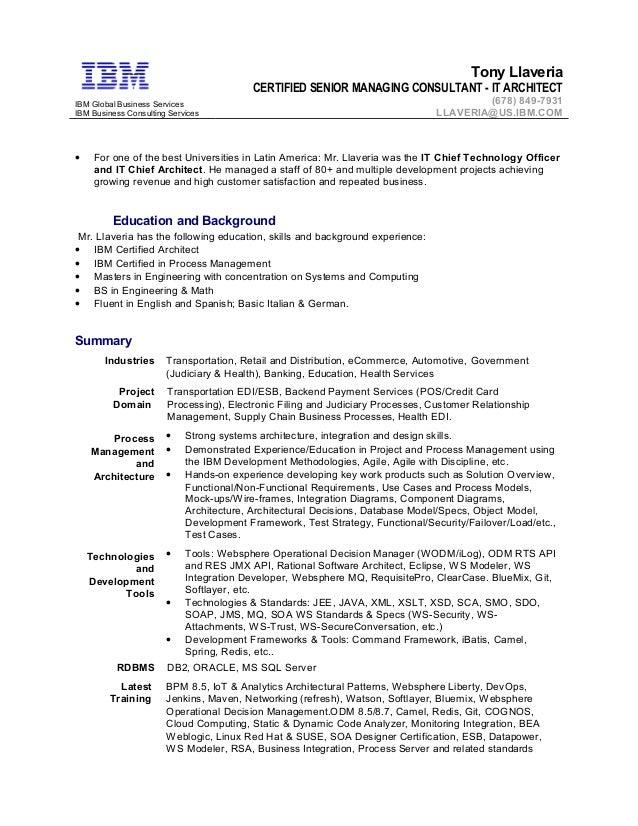 Tony Llaveria - IBM Sr Managing Consultant - IT Architect 18