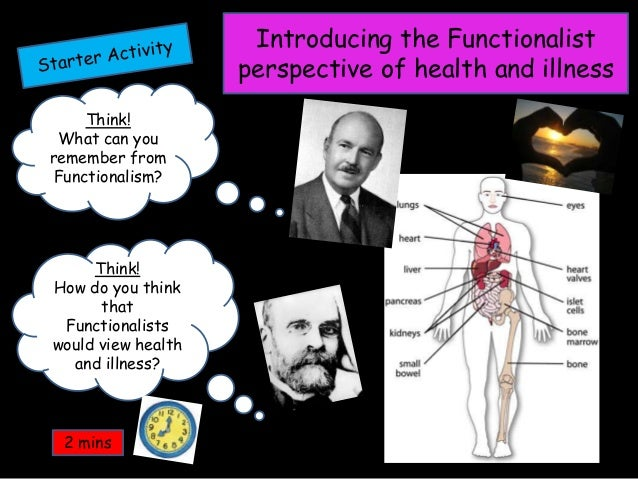 Think! What can you remember from Functionalism? Think! How do you think that Functionalists would view health and illness...