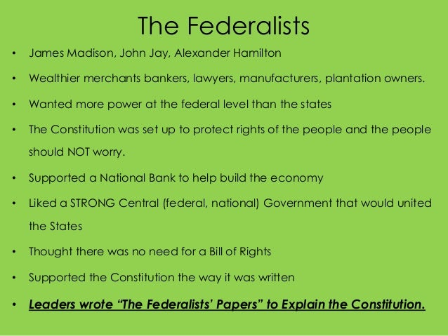 federalist versus anti-federalist essay Federalists vs anti-federalists views of the constitution write a 5 paragraph essay answering the following question federalist vs anti-federalist chart.