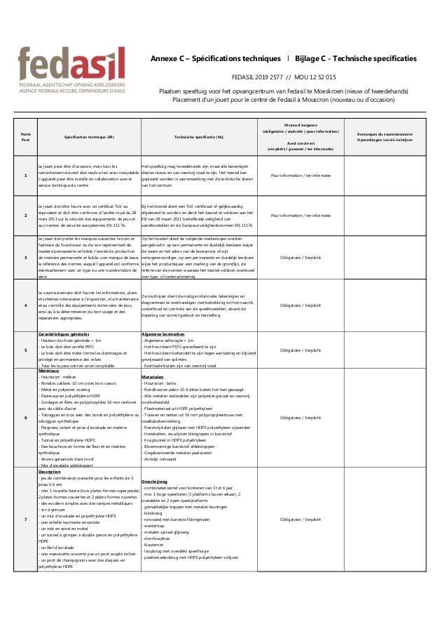 Poste Post Spécification technique (FR) Technische specificatie (NL) Niveau d'exigence (obligatoire / souhaité / pour info...
