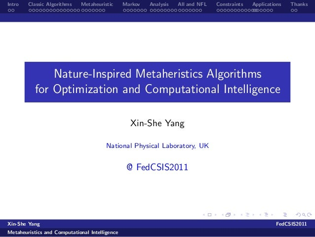 Intro   Classic Algorithms   Metaheuristic      Markov   Analysis   All and NFL   Constraints   Applications   Thanks     ...