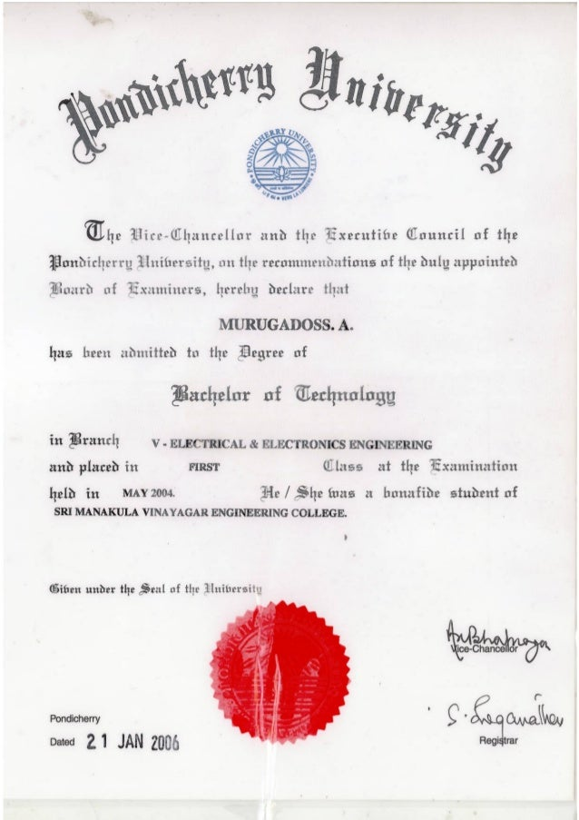 Btech degree certificate-Front