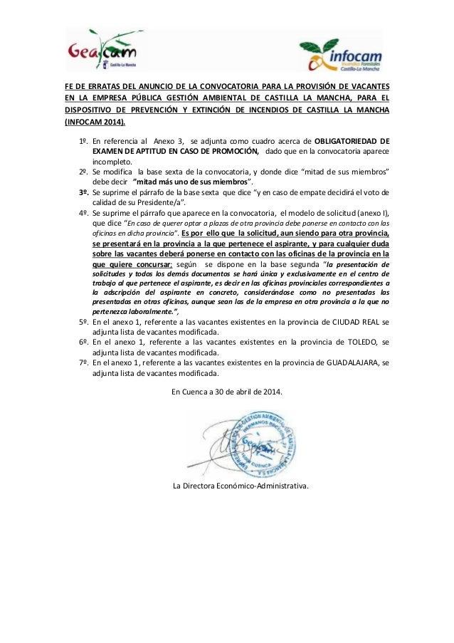 FE DE ERRATAS DEL ANUNCIO DE LA CONVOCATORIA PARA LA PROVISIÓN DE VACANTES EN LA EMPRESA PÚBLICA GESTIÓN AMBIENTAL DE CAST...
