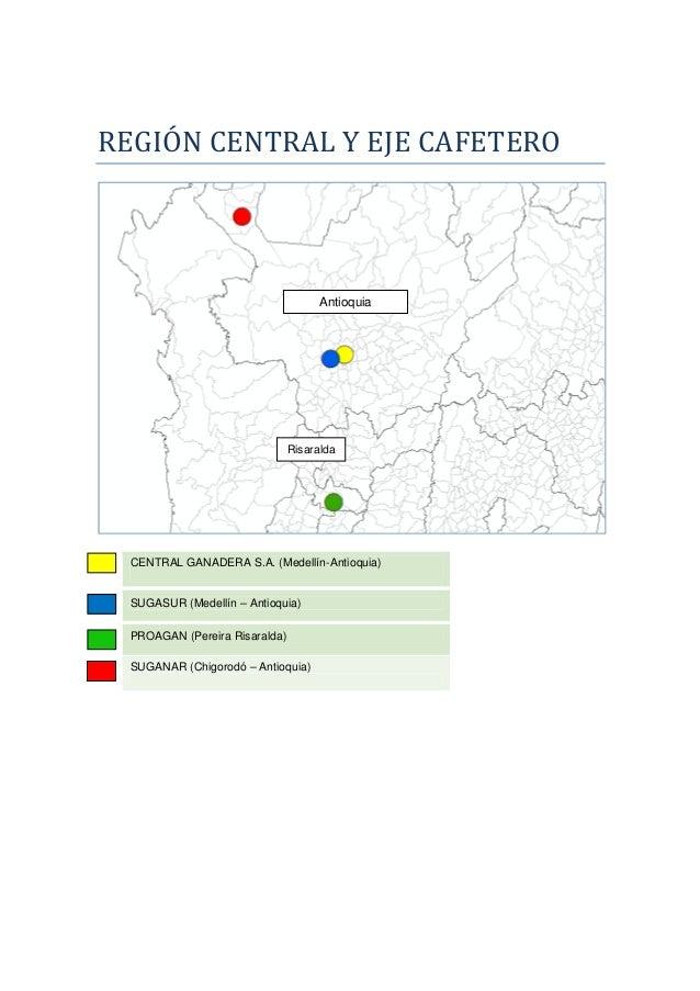 REGIÓN CENTRAL Y EJE CAFETERO CENTRAL GANADERA S.A. (Medellín-Antioquia) SUGASUR (Medellín – Antioquia) PROAGAN (Pereira R...