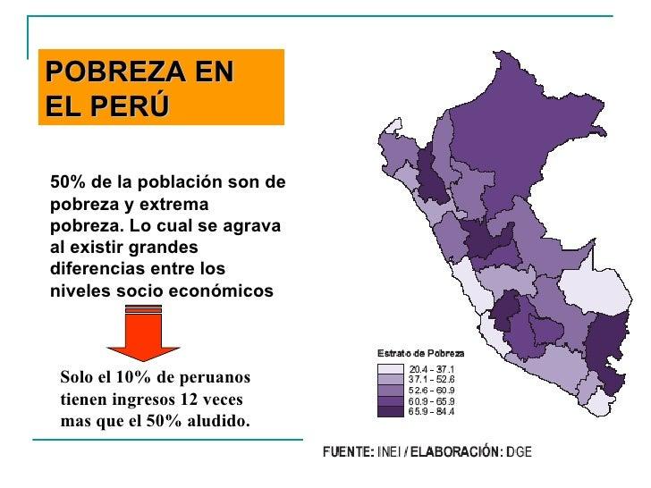 50% de la población son de pobreza y extrema pobreza. Lo cual se agrava al existir grandes diferencias entre los niveles s...