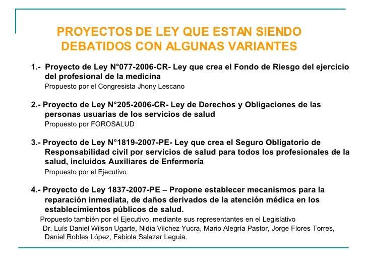 PROYECTOS DE LEY QUE ESTAN SIENDO DEBATIDOS CON ALGUNAS VARIANTES 1.-  Proyecto de Ley N°077-2006-CR- Ley que crea el Fond...