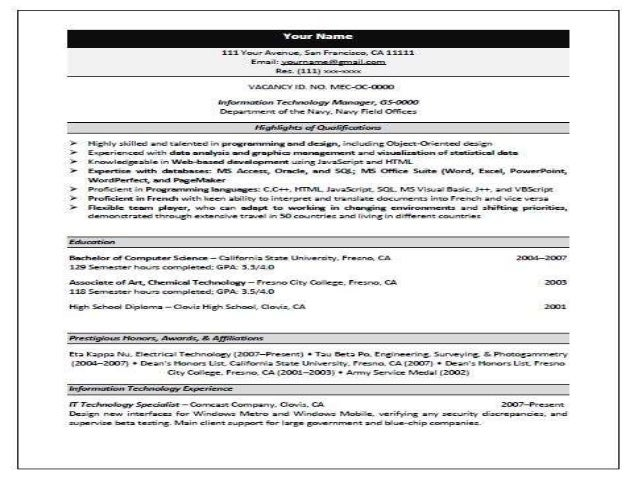 Federal Resume Format federal outline writing Federal Resume 2014 2