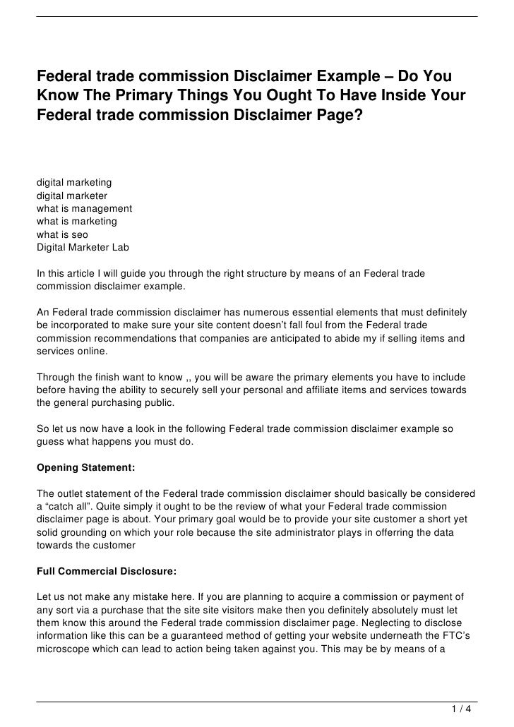 Federal Trade Commission Disclaimer Example Do YouKnow The Primary Things You Ought To Have Inside