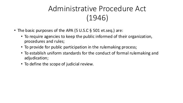 an analysis of administrative procedure act Final regulatory analyses.