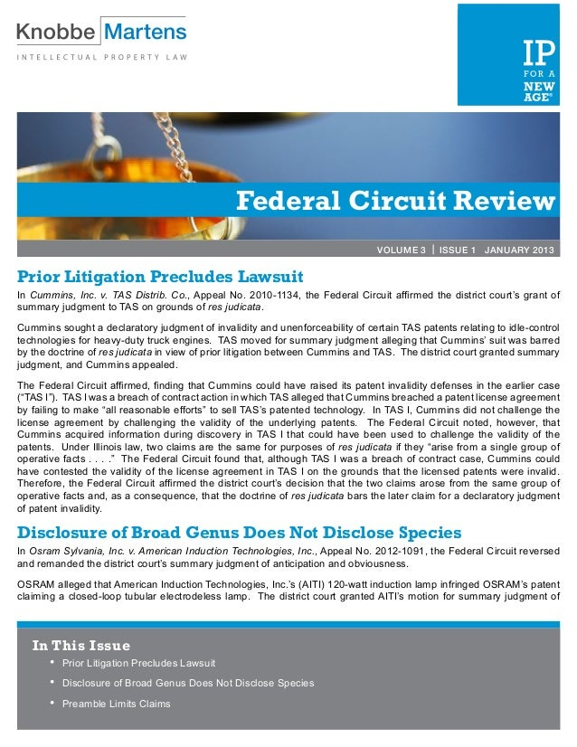Federal Circuit Review                                                                               VOLUME 3 | ISSUE 1 JA...