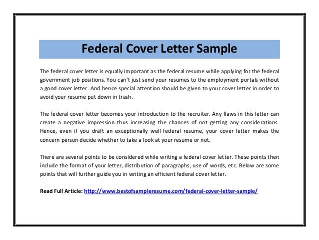 Federal Cover Letter Sample Pdf