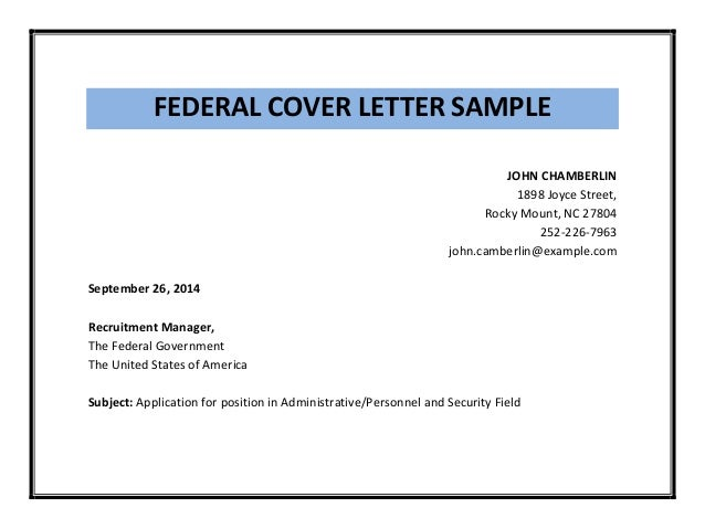 Cover Letter For Government Job Sample