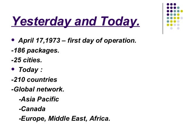 background information of fedex History 1969 to present just months after man's first landing on the moon, dhl began operating the first international door-to-door express delivery service in the world.