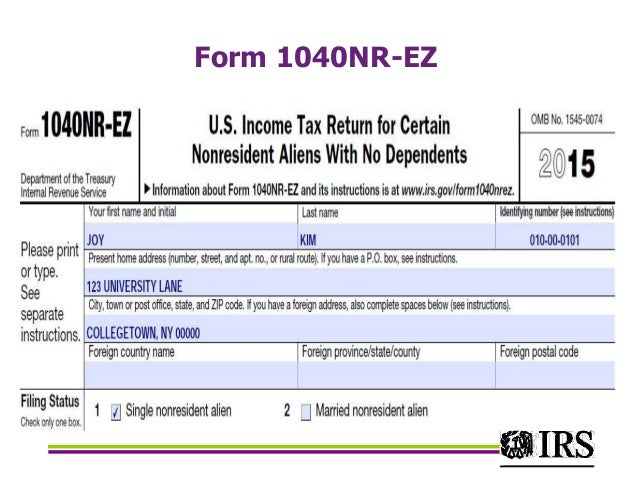 IRS Federal income tax for residential aliens 2016