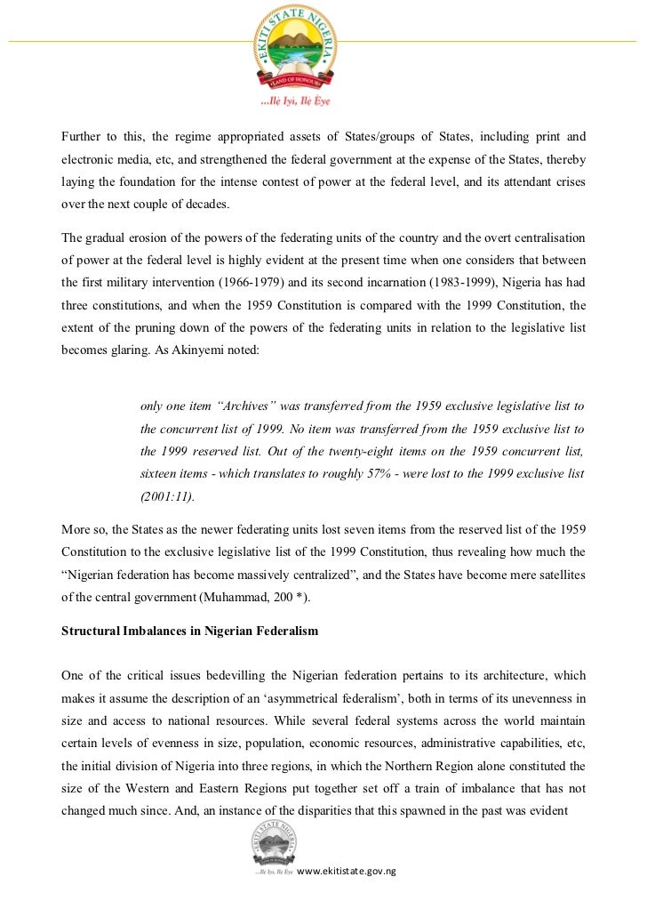 development of federalism Fiscal federalism and development in nigeria: an overview of core issues by kayode oladele according to professor akpan ekpo, a one-time vice chancellor of university of uyo, during his 2004.