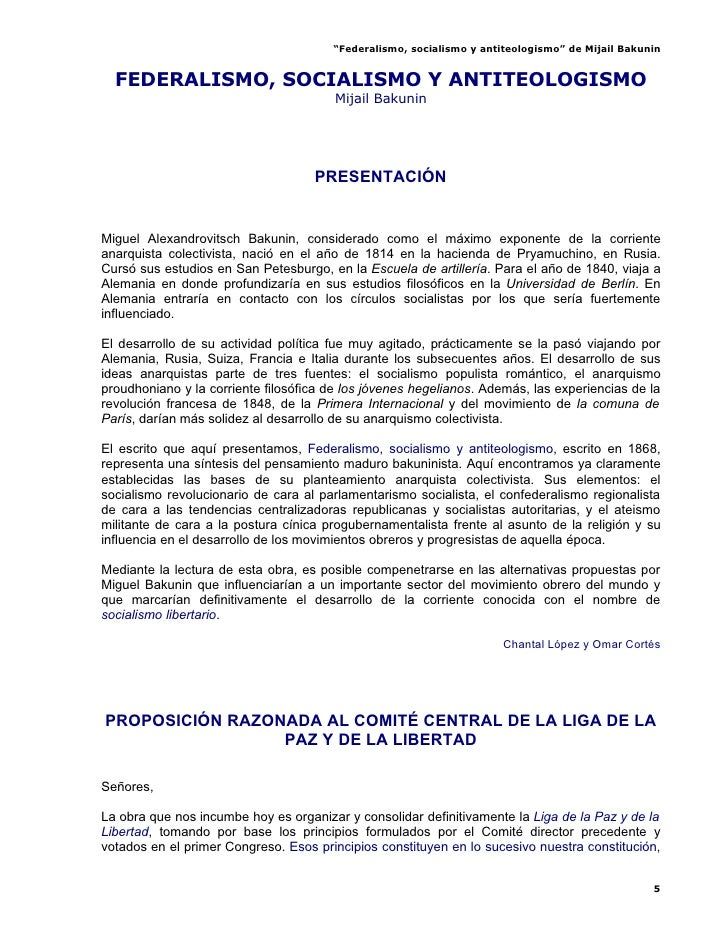 """""""Federalismo, socialismo y antiteologismo"""" de Mijail Bakunin     FEDERALISMO, SOCIALISMO Y ANTITEOLOGISMO                 ..."""