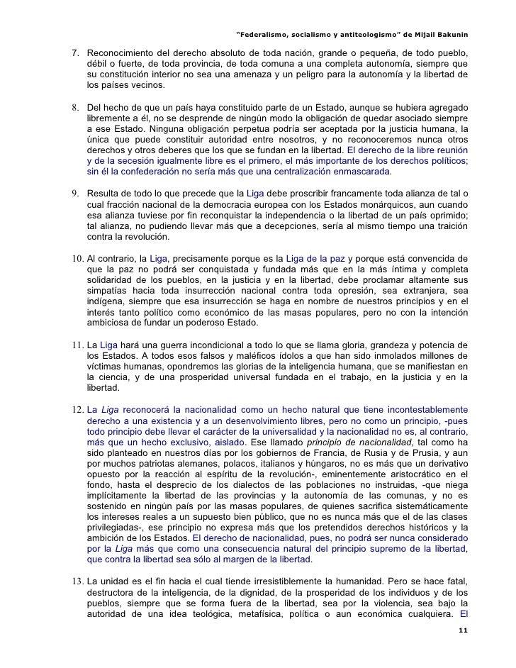 Federalismo, Socialismo Y Antiteologismo Mijail Bakunin