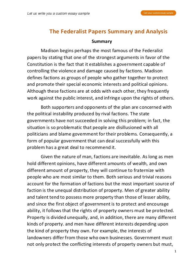 federalist papers summary pdf