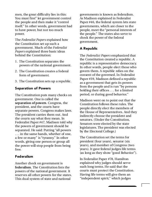 federalist essay number 10 summary